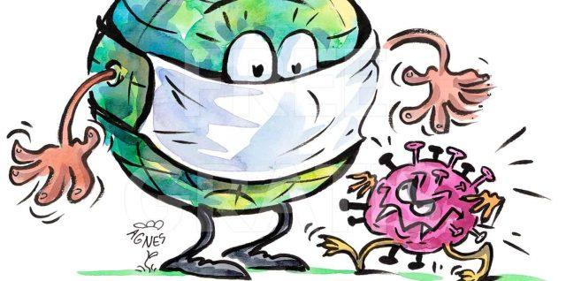Covid Grafik: Erdkugel mit Mundschutz und Covid-Virus, von Agnes Avagyan, www.Live-Karikaturen.ch, CC BY-SA 4.0