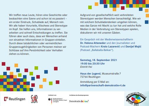 Ein einführender Text zur Veranstaltung mit ort und zeit und veranstalter und dem Hinweis zur Förderung durch demokratie leben! im Rahmen der Interkulturellen Woche 2021